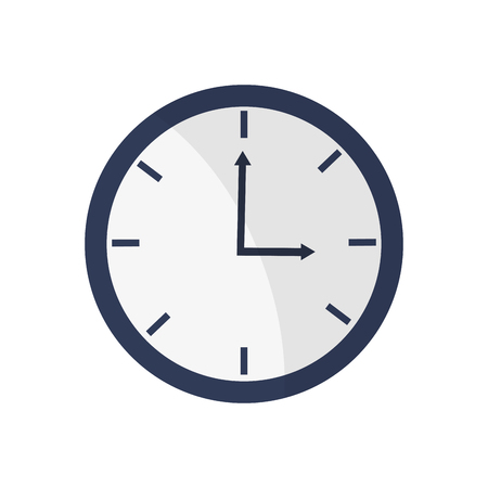o'clock: blue simple clock pointing three oclock vector illustration isolated over white Illustration