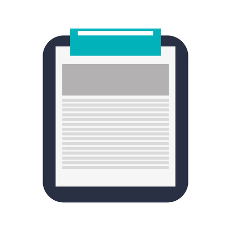 blue clip: black clipboard with white sheet of paper with lines on it and blue clip vector illustration isolated over white