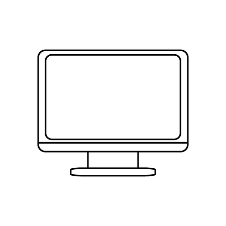 frontview: computer monitor frontview vector illustration isolated over white