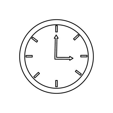 o'clock: black line analog clock three oclock vector illustration isolated over white