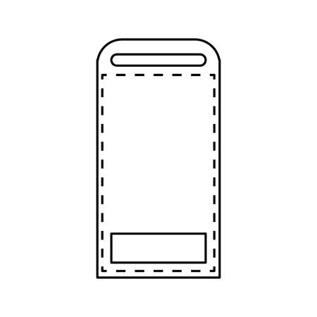bottom line: simple black line label with opening in the top and rectangle in the bottom vector illustration isolated over white
