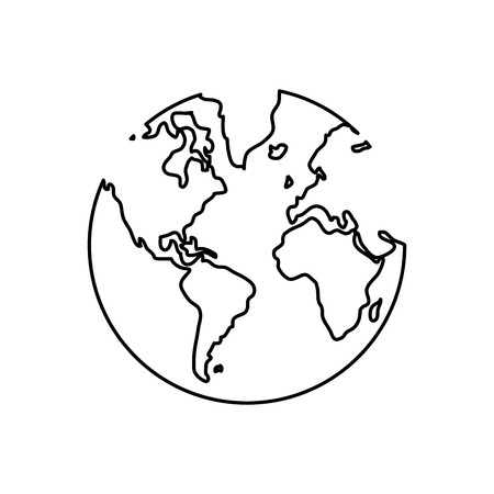 distinction: simple black line earth globe with water land distinction vector illustration isolated over white
