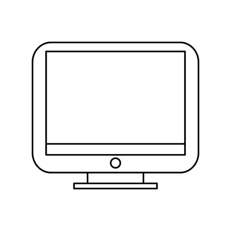 bottom line: simple black line computer monitor with button at the bottom isolated over white