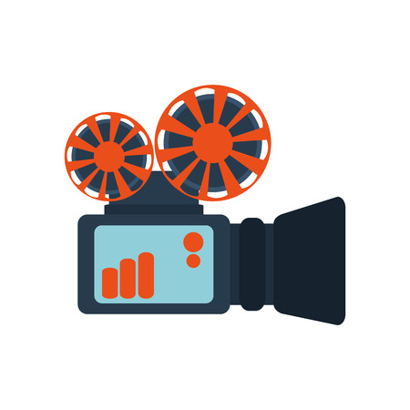 film projector: blue and orange reel film projector vector illustration isolated over white