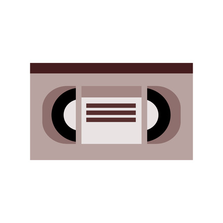 videocassette: brown and grey videocassette with title tag in the center vector illustration isolated over white