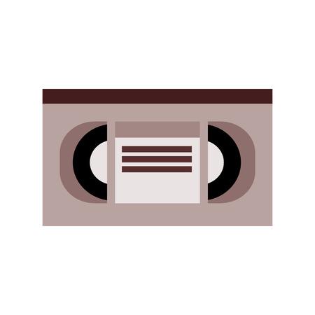 videocassette: marrón y gris con cinta de vídeo etiqueta del título en la ilustración vectorial centro aislado más de blanco