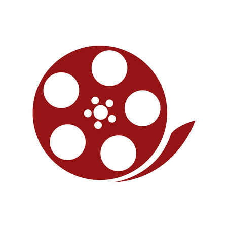 audiovisual: red film reel vector illustration isolated over white