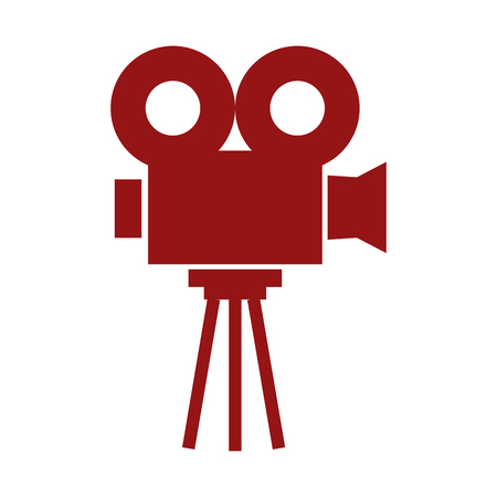 sideview: red video projector sideview vector illustration isolated over white