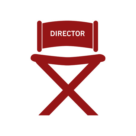 director chair: red director chair with letters isolated over white Illustration