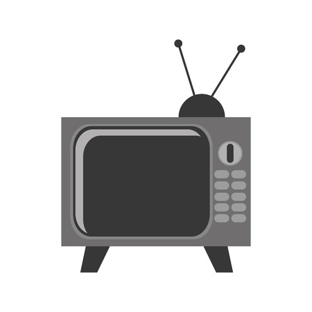 vintage television: black and grey vintage television with antenna and buttons vector illustration isolated over white Illustration