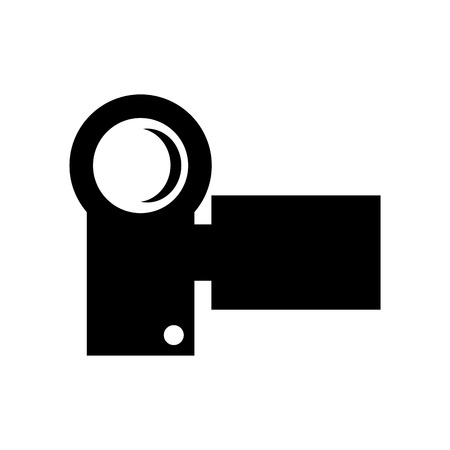 videocamera: black small modern videocamera frontview vector illustration isolated over white