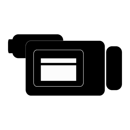 videocamera: black videocamera sideview vector illustration isolated over white