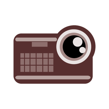 videocamera: brown white and black videocamera with lens in the upper right corner vector illustration isolated over white