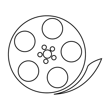 audiovisual: simple black line film reel vector illustration isolated over white