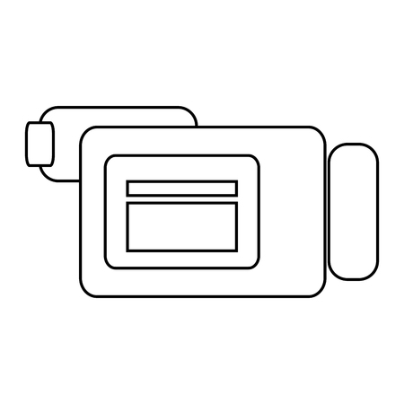 videocamera: simple black line videocamera sideview vector illustration isolated over white