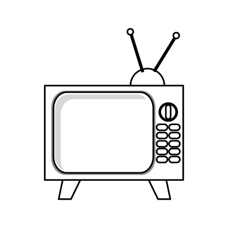 tuner: simple black line television with buttons and antenna vector illustration isolated over white