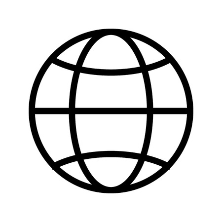 einfache Globusdiagramm mit der geographischen Breite Linien und Meridiane Vektor-Illustration isoliert über weiß
