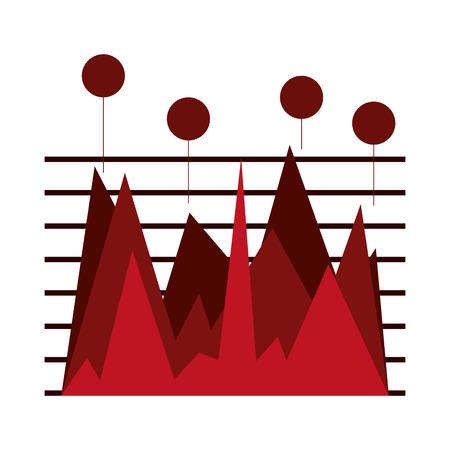 lineas horizontales: Gráfico de las estadísticas sobre las líneas horizontales de color rojo con círculos en la parte superior de la ilustración del vector aislado más de blanco