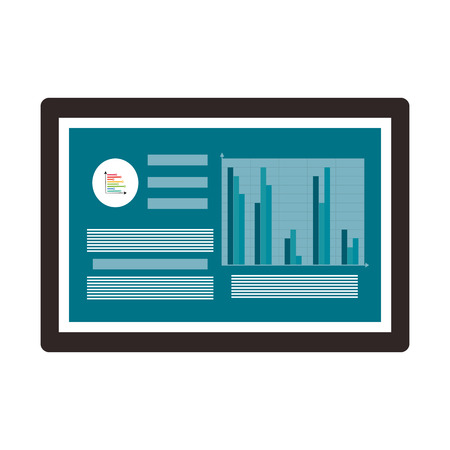 grow money: black board showing data and a bar graph with blue background vector illustration isolated over white