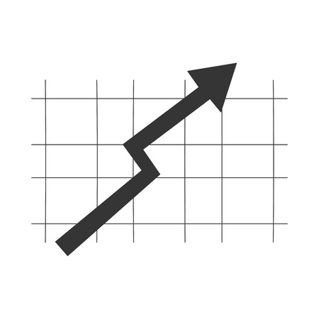 grow money: black arrow pointing upwards on grey grid vector illustration isolated over white Illustration