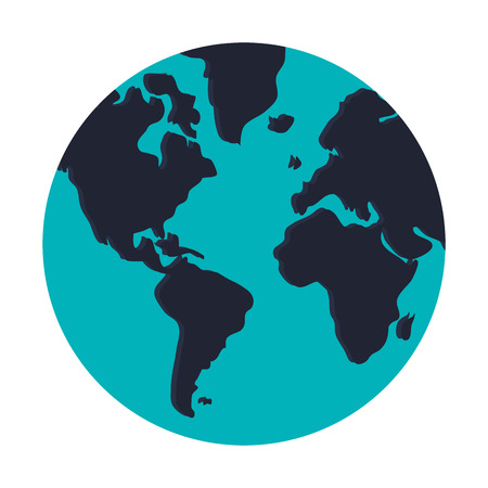 distinction: blue earth globe with distinction between water and land vector illustration isolated over white