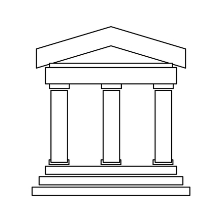 pillars: black line ancient greek or roman building with 3 pillars and 3 steps vector illustration isolated over white