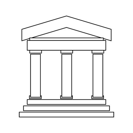 ligne noire ancien bâtiment grec ou romain avec 3 piliers et 3 étapes vecteur illustration isolé sur blanc