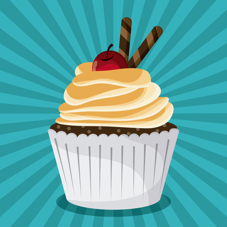 decorated: Decorated Cupcake with bakery cream design over striped blue background