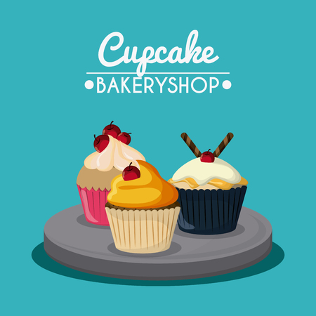 decorated: Decorated Cupcake with bakery cream design over blue background