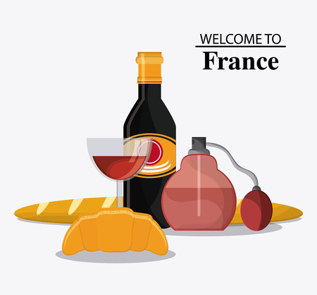 perfum: France represented by his tipical and culture food design over isolated and flat illustration