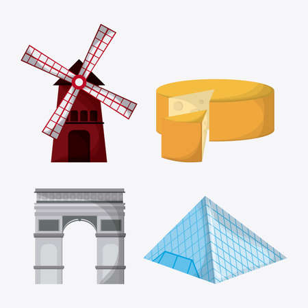 wind mill: France represented by arch of trumph, cheese, wind mill and the louvre over isolated and flat illustration