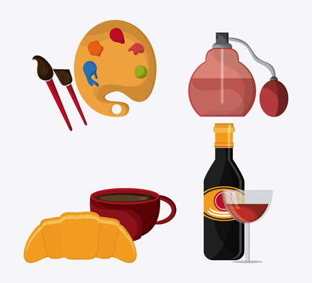 France represented by palette, food and perfum design over isolated and flat illustration