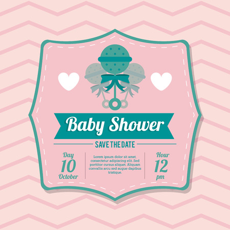 maraca: Baby Shower represented by maraca design, decorated and pink background with text inside Illustration