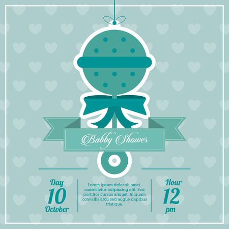 maraca: Baby Shower represented by maraca design, decorated and blue background with text inside