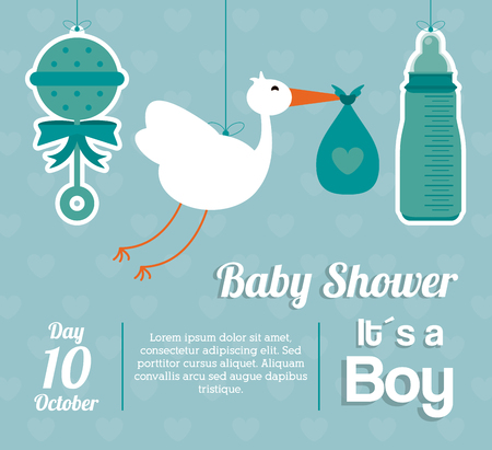 maraca: Baby Shower represented by maraca, stork and bottle design, decorated and blue background with text inside Illustration