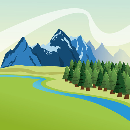 landscape of mountains, river, sky and pine trees  illustration