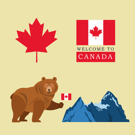 canadian maple leaf: Canada representated by beer, flag, mountain and maple leaf illustration