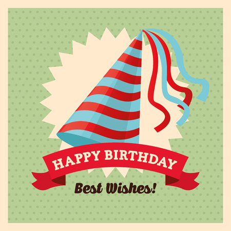 pointy hat: Happy Birthday concept with icon design, vector illustration 10 eps graphic. Illustration