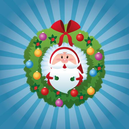 corona navidad: Feliz Navidad representado por la historieta de santa dentro de la corona de pino sobre fondo azul y plana Vectores