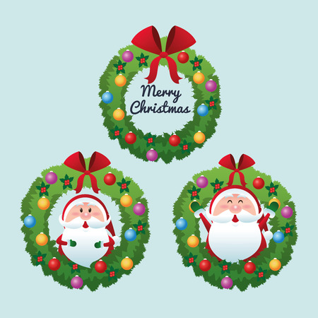 christmas crown: Merry Christmas represented by cartoon of santa inside pine crown over blue and flat background