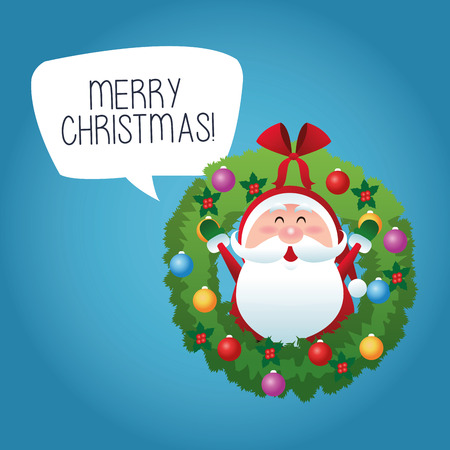 corona navidad: Merry Christmas represented by cartoon of santa inside pine crown over blue and flat background