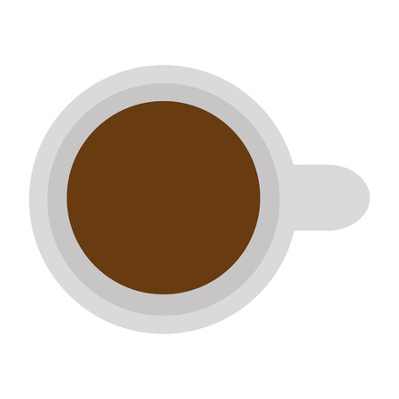 household goods: white cup of coffee with handle topview vector illustration