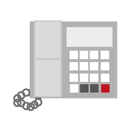 office buttons: grey office telephone with screen and buttons vector illustration