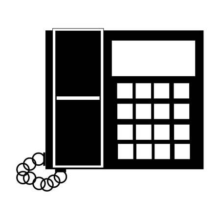 office buttons: black and white office telephone with screen and buttons vector illustration Illustration