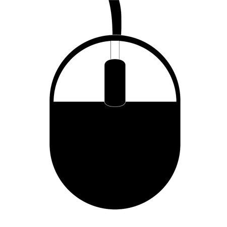 lit collection: black and white computer mouse with cord vector illustration