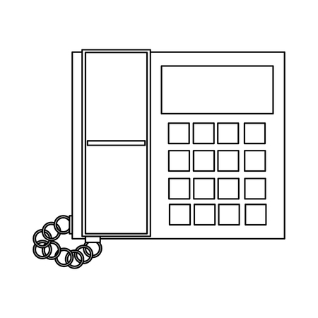 office buttons: black line office telephone with screen and buttons vector illustration