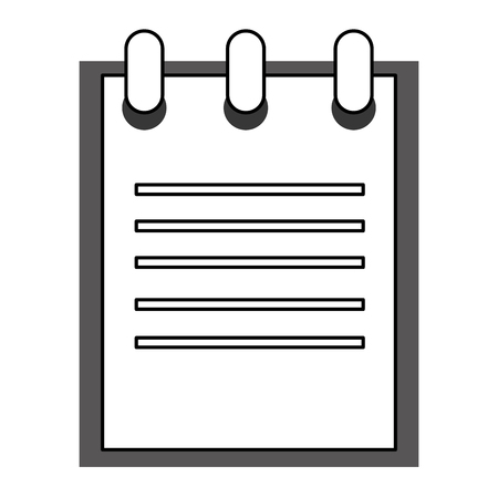 open notebook: black line open notebook with wire on top vector illustration