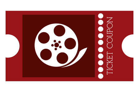 raffle: red movie ticket with film reel on it vector illustration Illustration