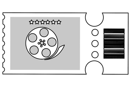 raffle: simple black line movie ticket with film reel on it vector illustration