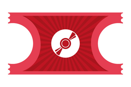 permission: red movie ticket with cd icon on it vector illustration